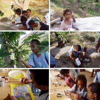 Children painting outdoors and indoors